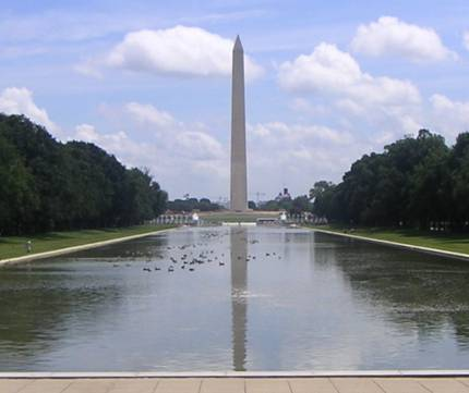 Reflecting Pool reflects the obelisk in the water